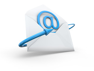 mail with arrow 3d render