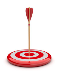 Arrow in target 3D. success hitting. Business concept. Isolated