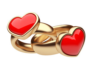Gold two ring with red heart 3D. Love concept. Isolated on white