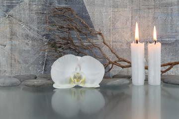 Printed roller blinds Orchid Weiße Orchidee, Kerzen, Zweige