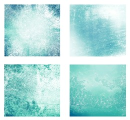 Set of 4 blue textured backgrounds