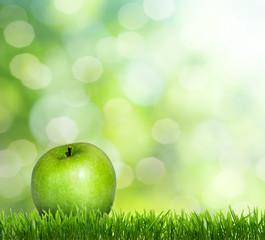apple on grass