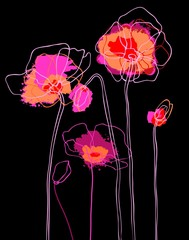 Tuinposter Abstract bloemen Pink poppies on black background. Vector illustration