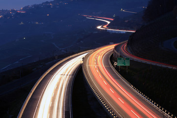 Spoed Foto op Canvas Nacht snelweg Highway in the night, Lavaux, Switzerland