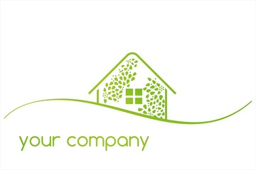 Home , green Eco friendly business logo design