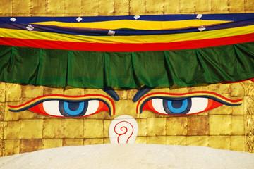 Buddha wisdom eyes on Bodhnath stupa in Kathmandu,Nepal