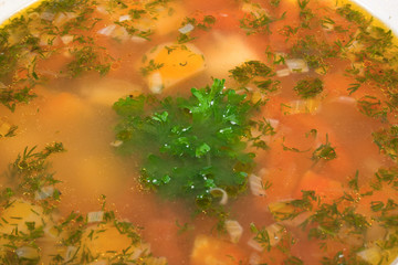 usual soup with vegetables and herbs