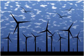 Windkraftanlage auf dem Meer mit Wolken