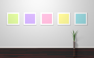 Empty colorful frames on wall
