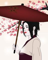 portrait of a geisha with umbrella