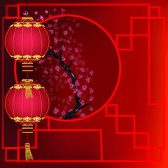 oriental background with lanterns and cherry blossom branch