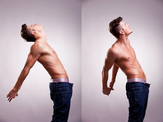 two artistic portraits of young topless man