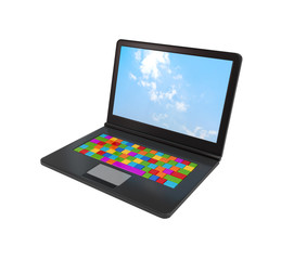 Notebook with colorful keyboard.