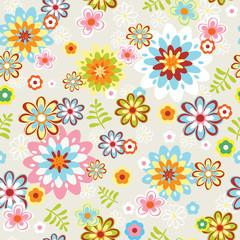 cute seamless flower pattern line art