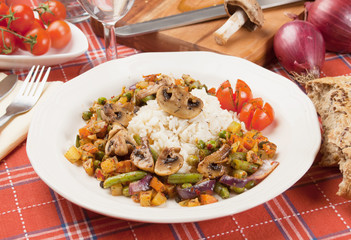 Portabello mushrooms with rice and vegetables