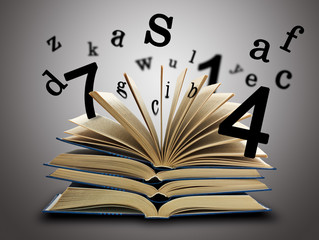 The Magic Book with the letters and numbers
