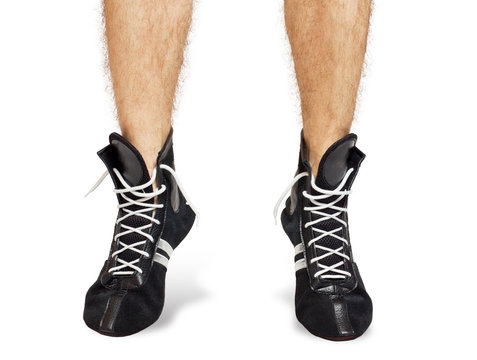 Boxing shoes on their feet