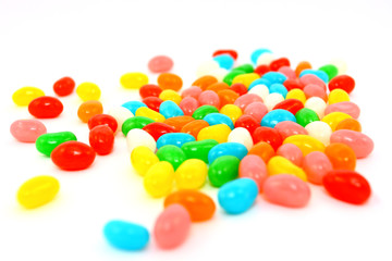 Close-up Of Colorful Jelly Beans On White
