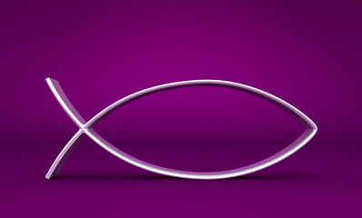 3D ICHTHYS Silber auf Violett 04