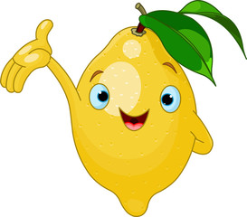 Cheerful Cartoon Lemon character