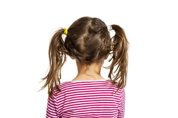 Girl isolated on white background, back view