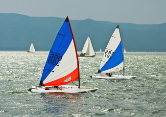 The yacht takes part in competitions in sailing