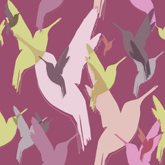 Seamless pattern of hummingbirds