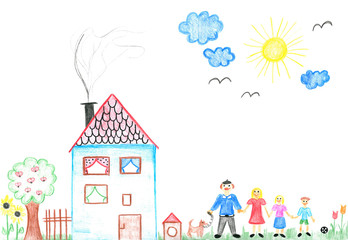 Child's drawing happy family with house and dog.