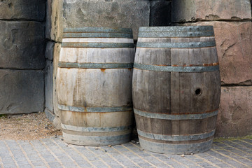 Barrels against a wall