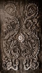 Antique wooden door, Sculpt a Dragon God.