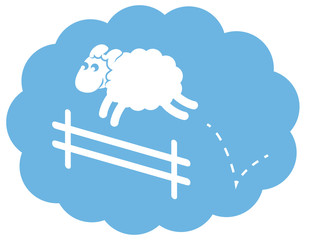 Sheep jumping over a fence in a cloud sleep bubble.