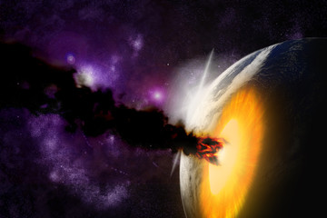Wall Mural - Attack of the asteroid on the planet in the universe. Abstract i