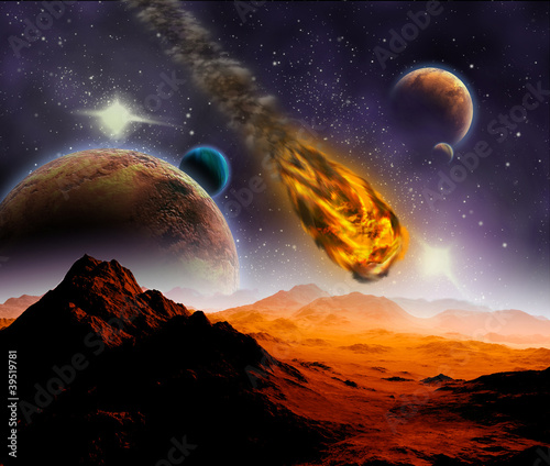 Wall mural Attack of the asteroid on the planet in the universe. Abstract i