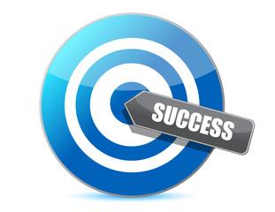 blue target success illustration design over white background