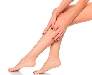 Well-groomed female legs after depilation
