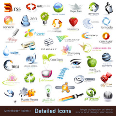 collection of detailed vector icons and design elements