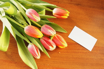 Bouquet of tulips on the table and empty white card