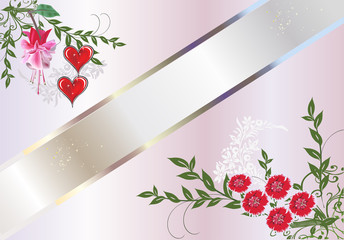 red hearts and carnations design