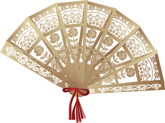 brown decorated fan isolated on white