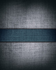 grunge grey fabric with dark blue bar as vintage texture