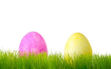 Painted colorful Easter eggs in the grass