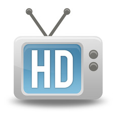 "Cartoon-style TV Icon with ""HD"" wording on screen"
