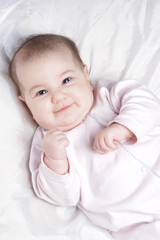 smiling baby close up portrait