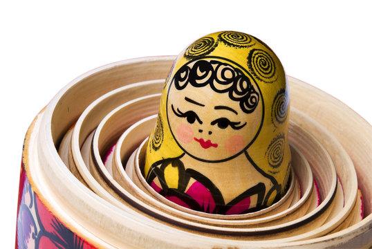 Russian Babushka or Matryoshka Doll inside the other dolls.