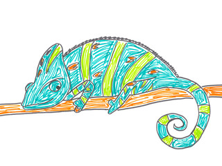 Cute chameleon on tree branch, hand drawing illustration.
