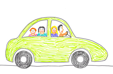 Child's drawing happy family on the car trip.