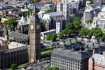 House of Parliament with Big Ben tower in London view from Londo