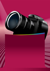 Pink vector background with DSLR Camera