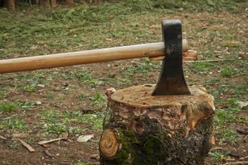 hacha encima de tronco