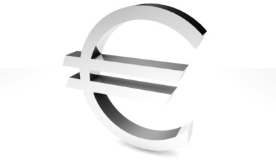 Silver euro currency - white background